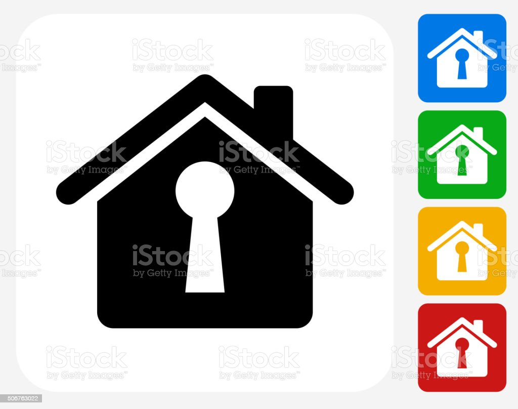 House Shaped Keyhole Icon Flat Graphic Design vector art illustration