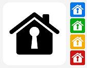 House Shaped Keyhole Icon Flat Graphic Design