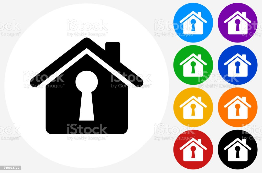 House Shaped Keyhole Icon on Flat Color Circle Buttons vector art illustration