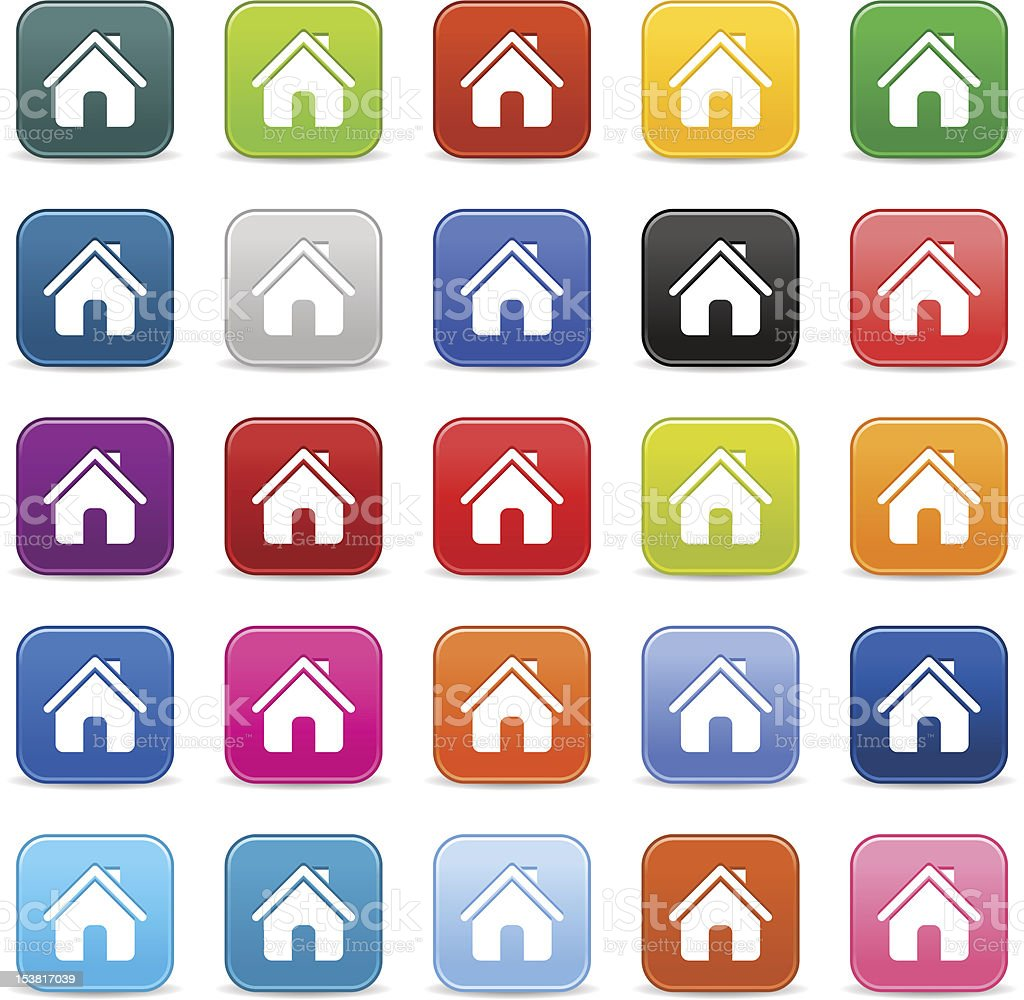 House sign. 1 credits. Satin icon rounded square button shadow royalty-free stock vector art