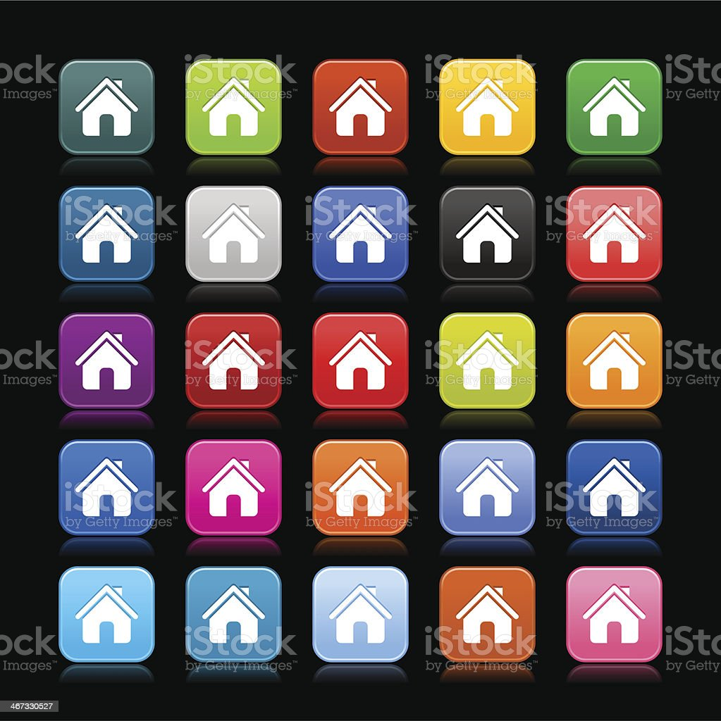 House sign rounded square icon web button vector art illustration