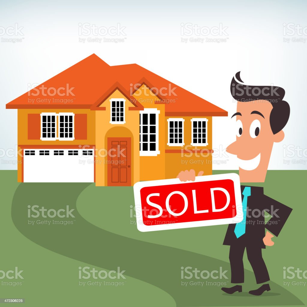 House Sold Sign royalty-free stock vector art