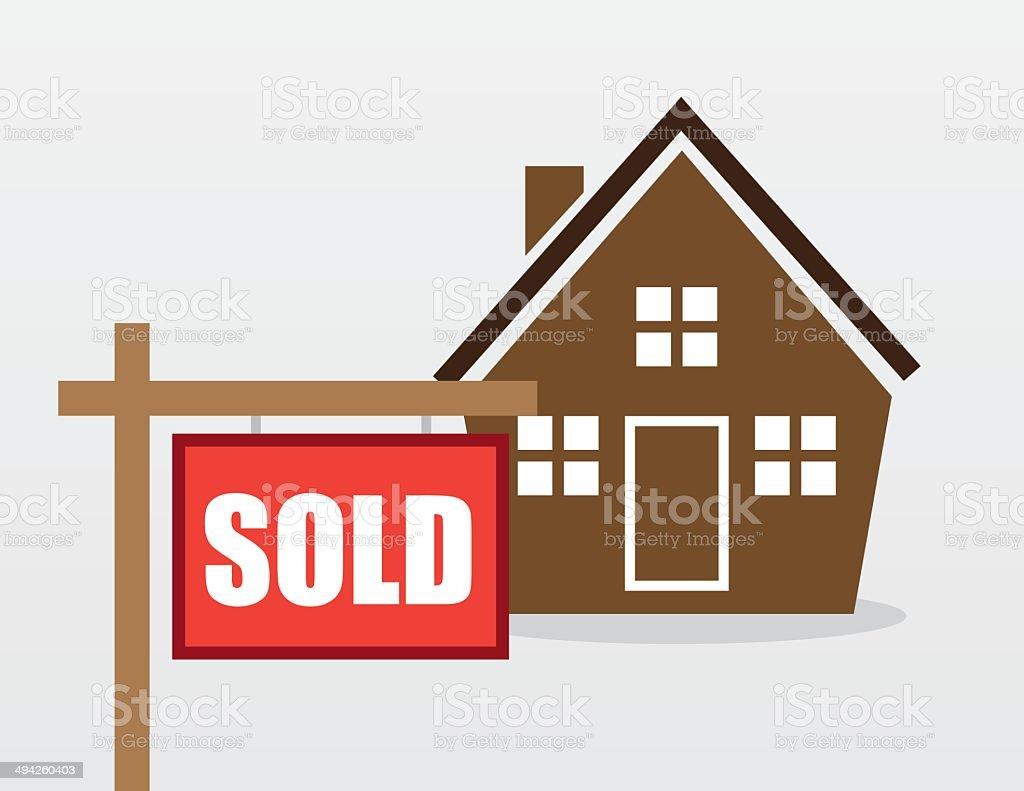 House Sold Sign vector art illustration