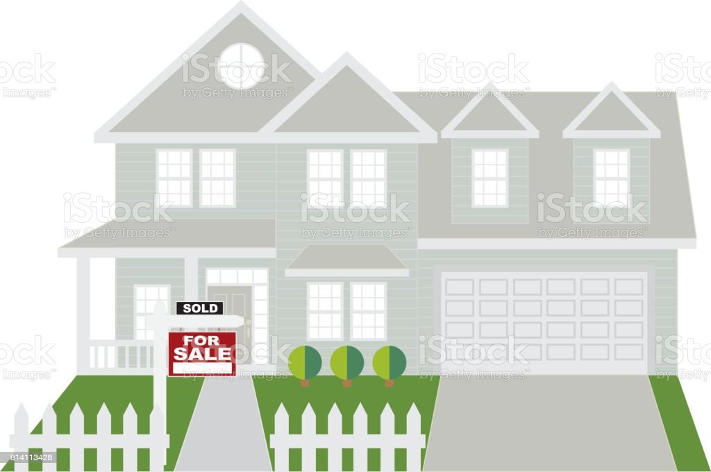 House Sold with For Sale Sign Color Illustration vector art illustration
