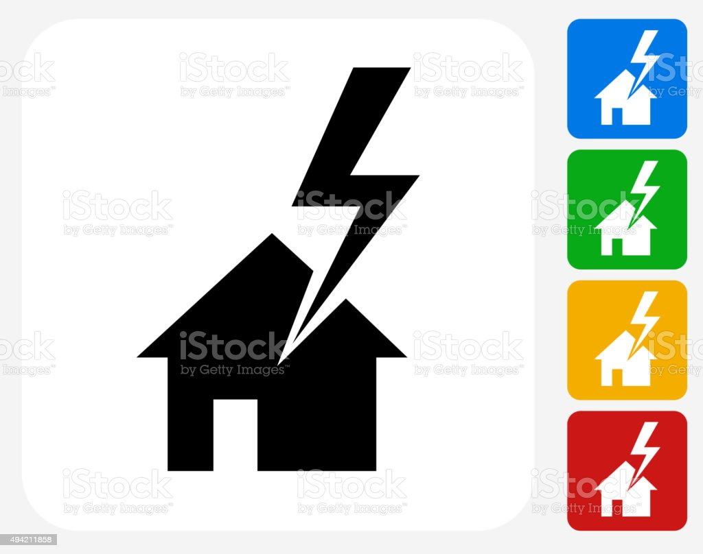 House Struck by Lightning Icon Flat Graphic Design vector art illustration