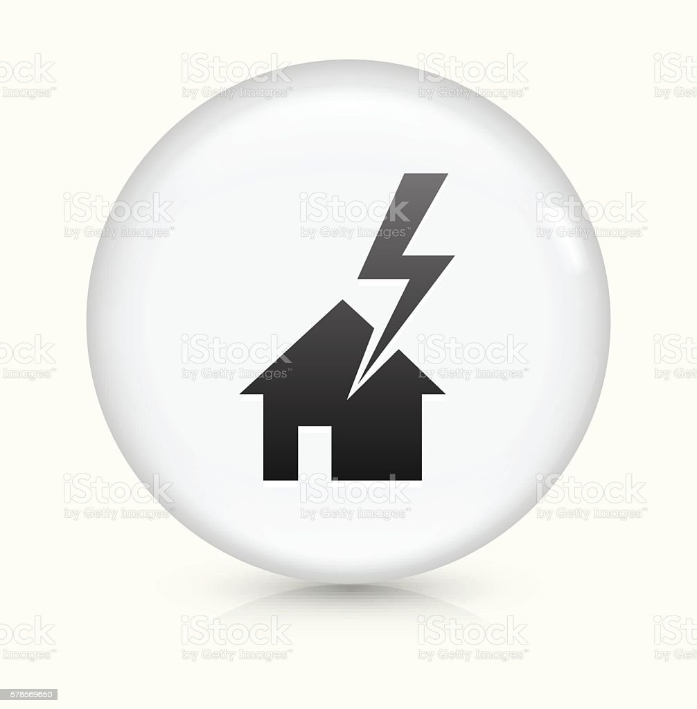 House Struck by Lightning icon on white round vector button vector art illustration