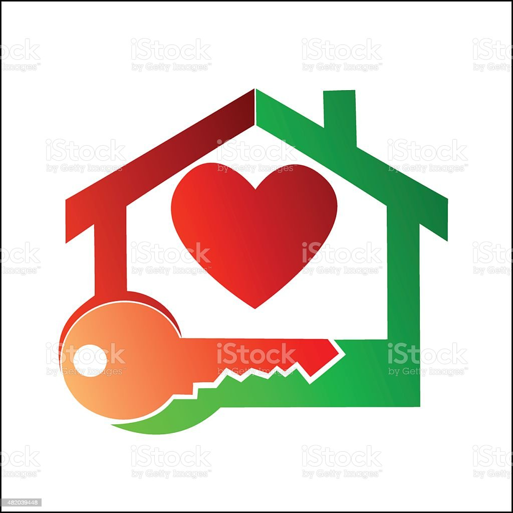 House symbol and key royalty-free stock vector art