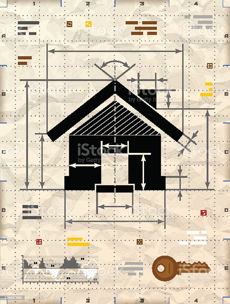 house symbol as technical blueprint drawing stock vector art