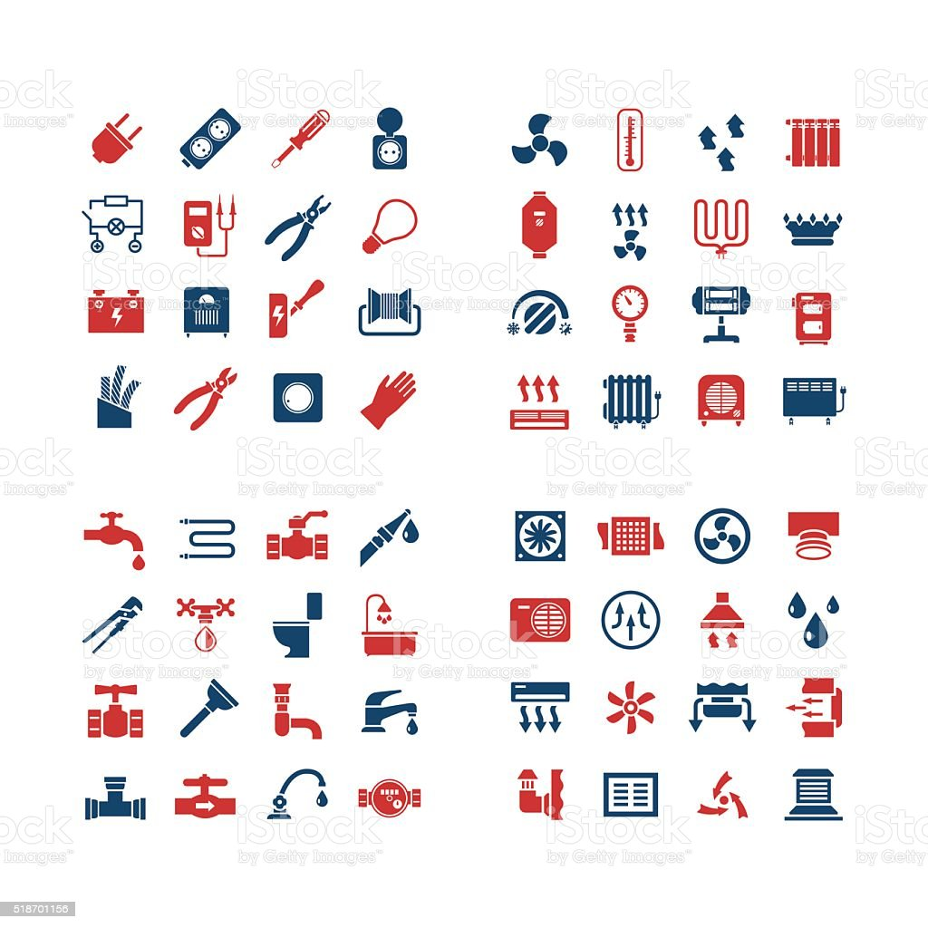 House system color icons vector art illustration