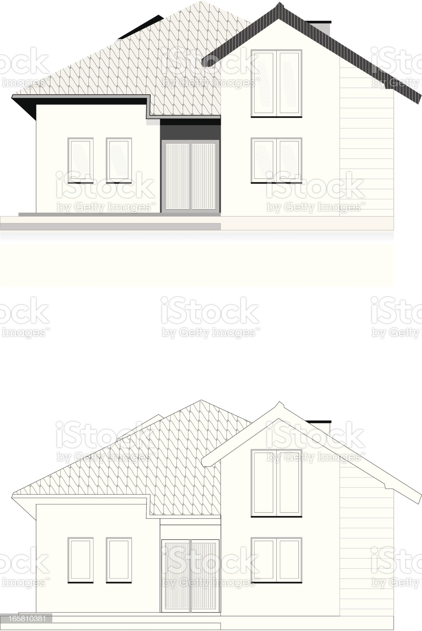 House technical concept draw royalty-free stock vector art