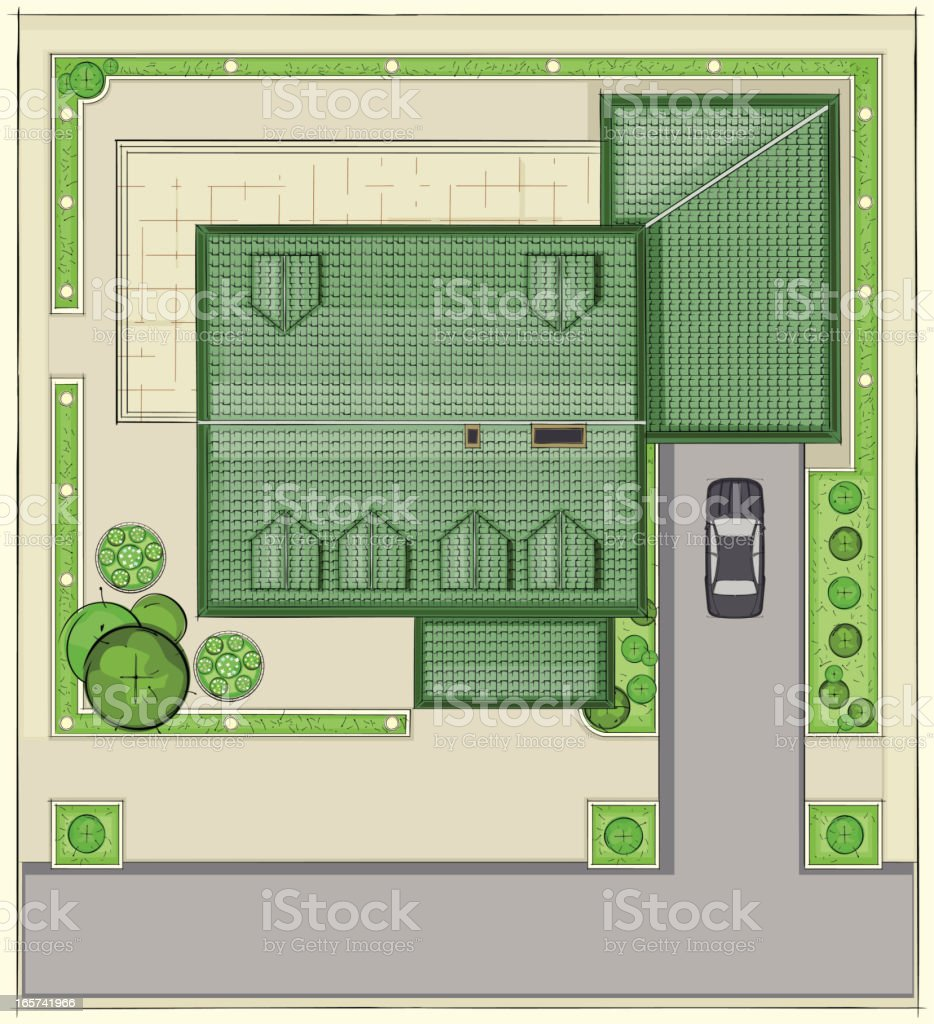 House top plan vector art illustration