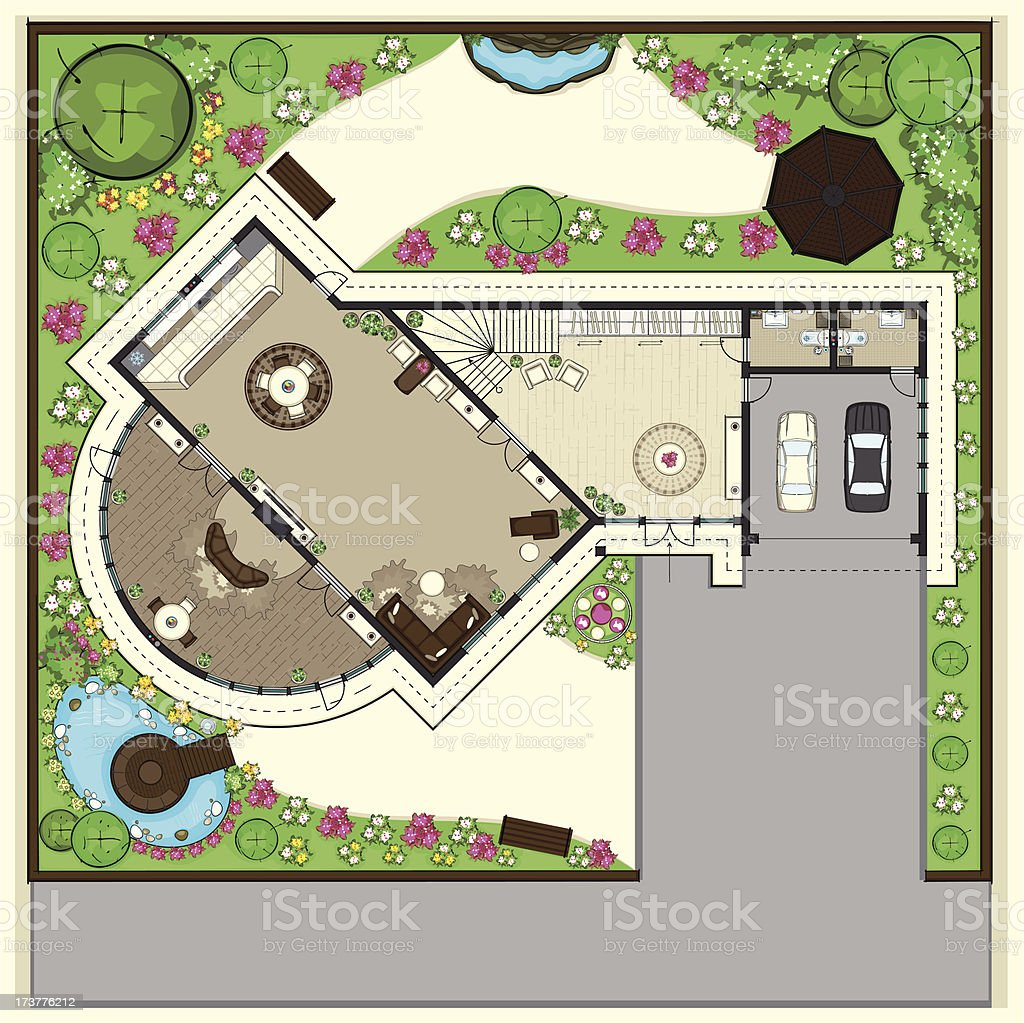 House top plan with a beautiful garden vector art illustration