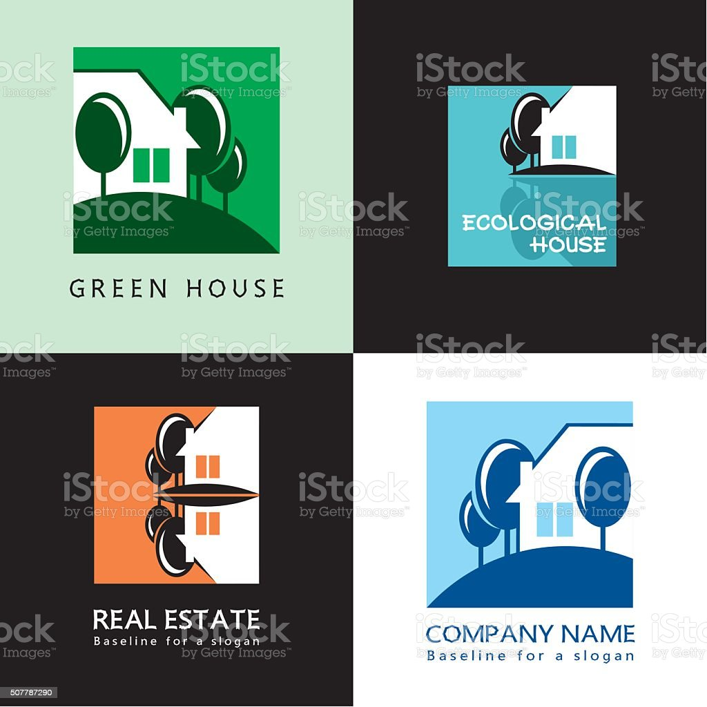 House, trees, abstract graphic symbol, vector icon, sign. vector art illustration