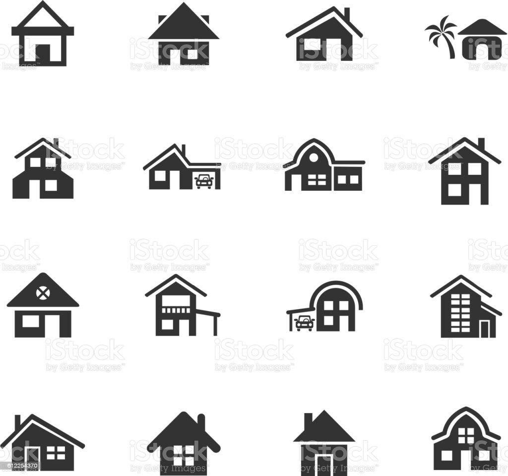 house type icon set vector art illustration