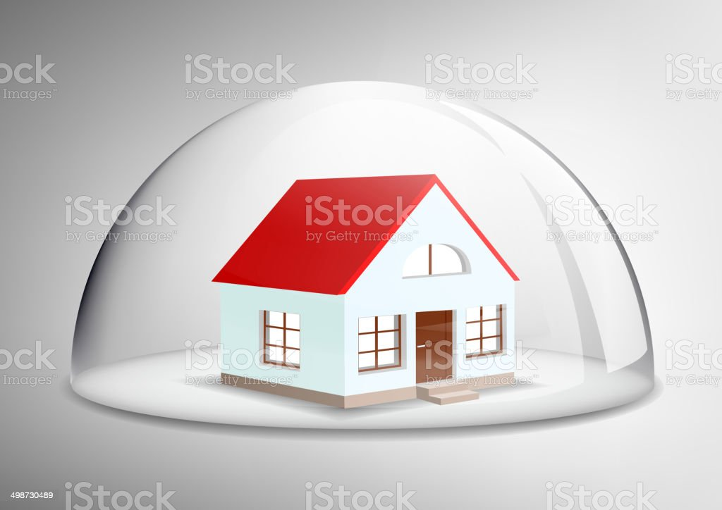 house under a glass dome vector art illustration