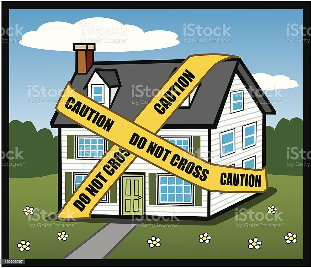 House Under Caution Tape royalty-free stock vector art