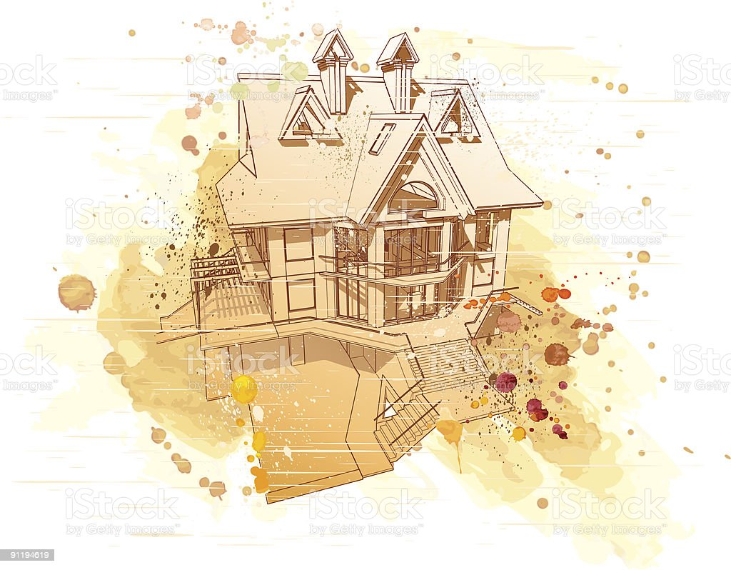 house: watercolor sketch royalty-free stock vector art