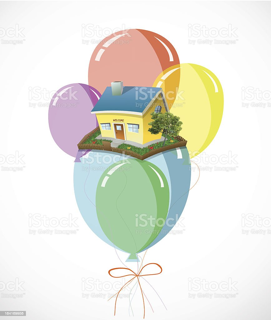 House with a lots of colorful balloons. Vector eps10 royalty-free stock vector art