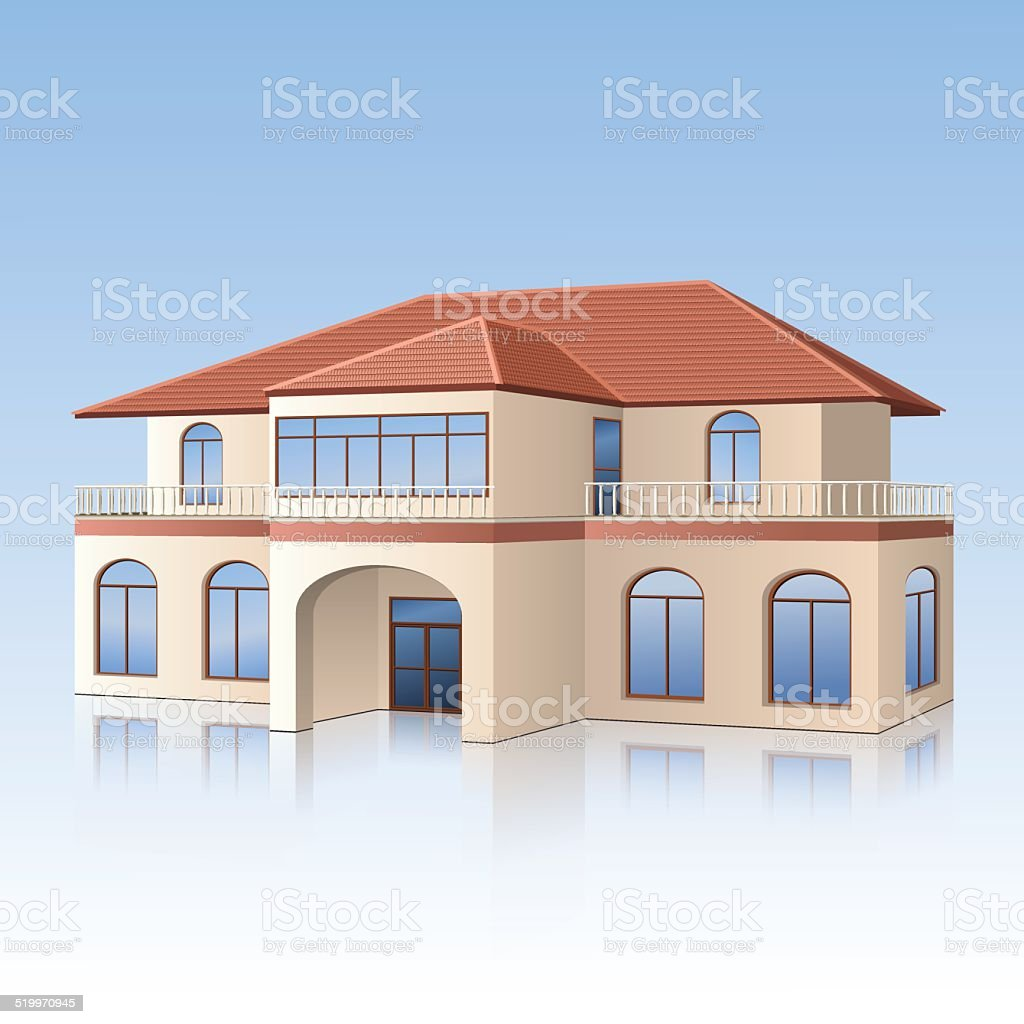 house with a tiled roof and reflection vector art illustration