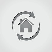 house with arrows grey icon