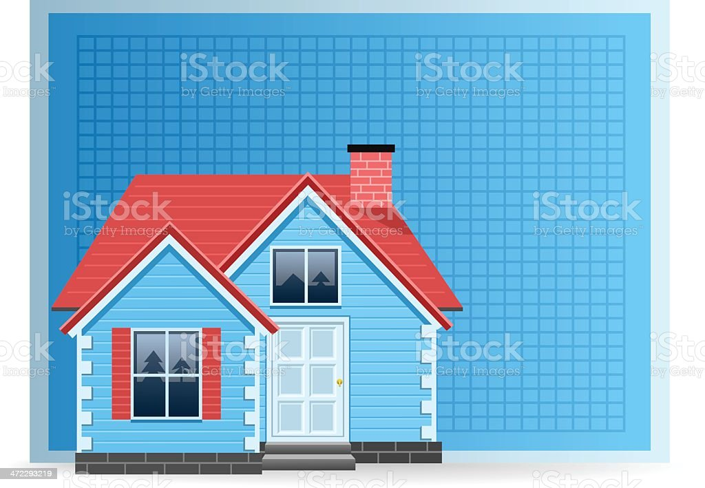 House with Blueprint royalty-free stock vector art