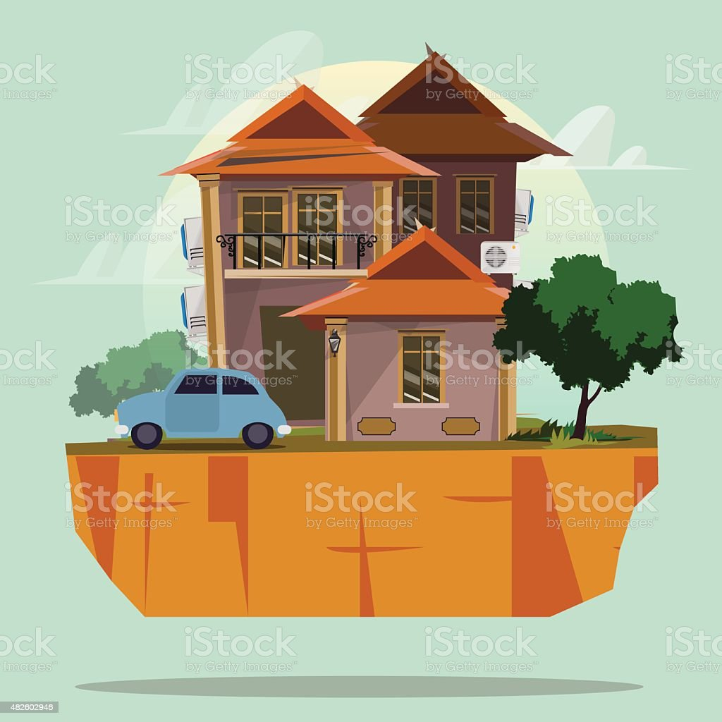 house with car - vector illustration vector art illustration