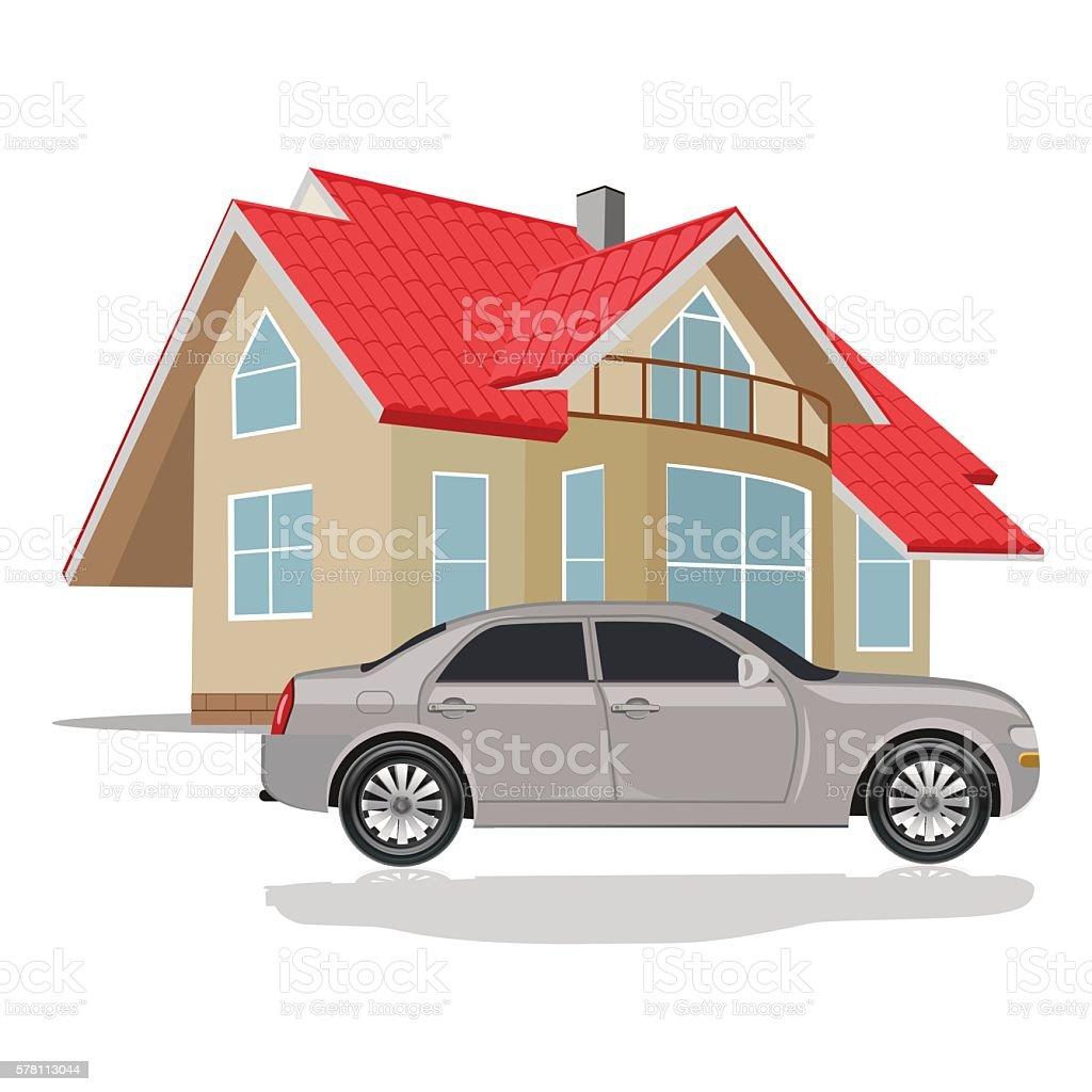 house with car, vector illustration vector art illustration