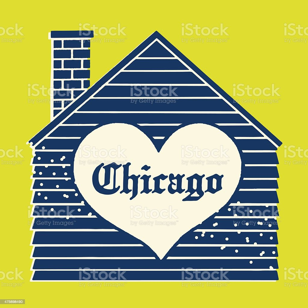 House With Chicago Heart vector art illustration