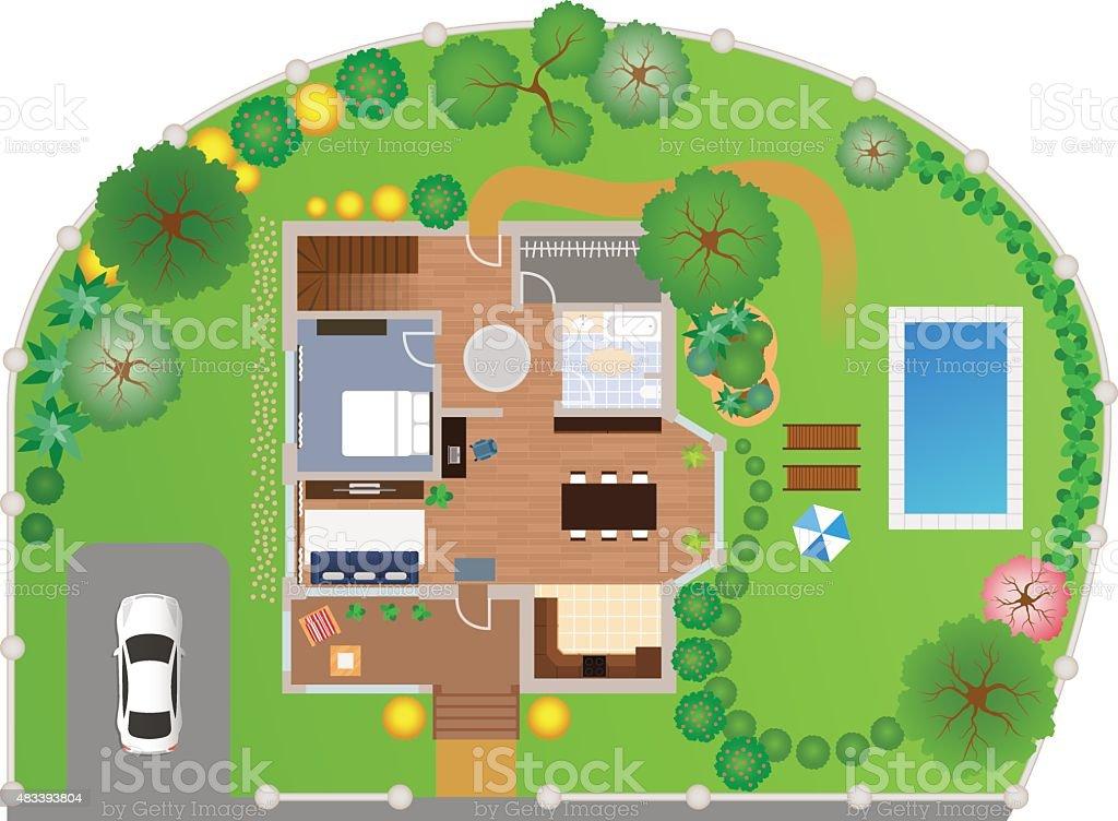 House with garden layout, vector vector art illustration