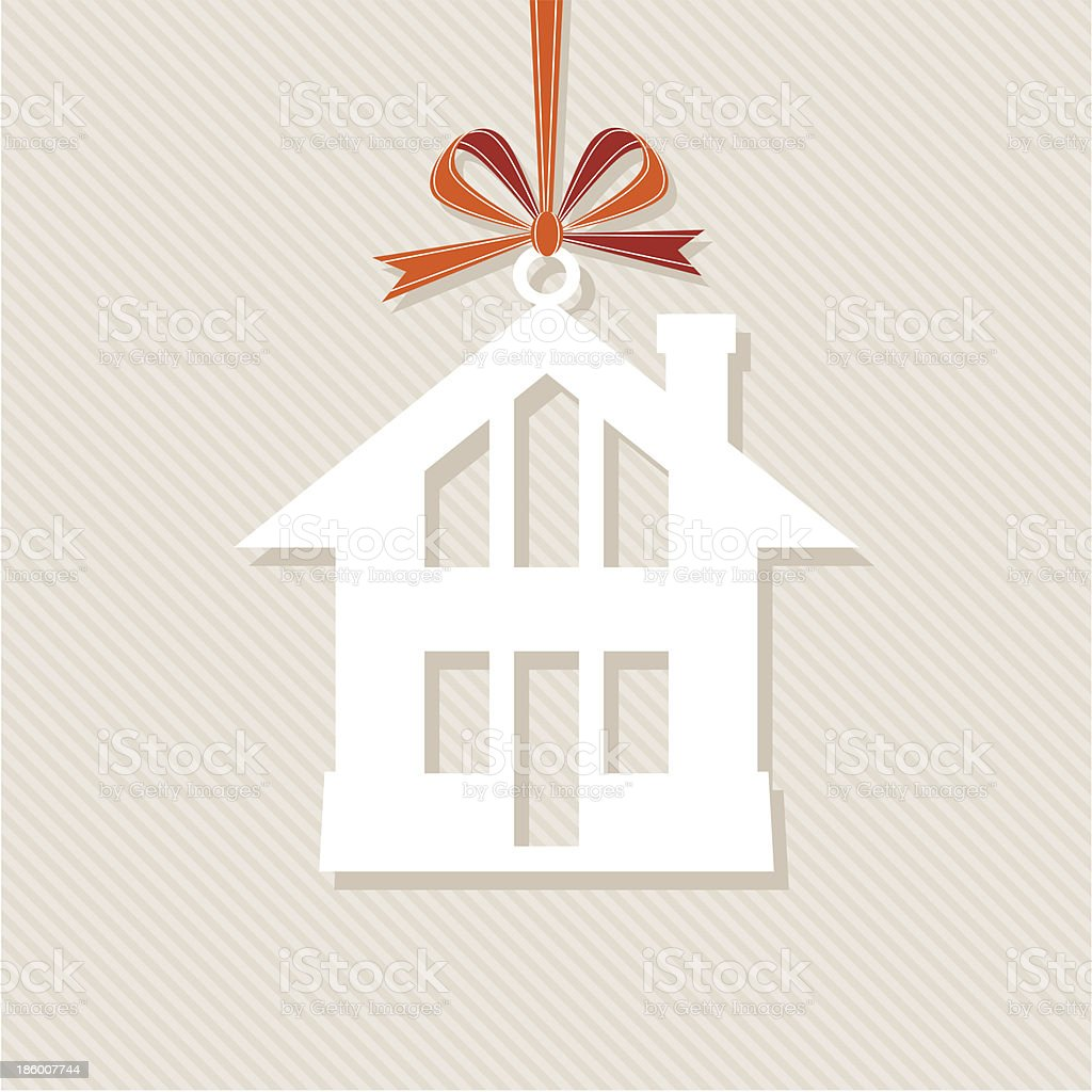 house with red bow royalty-free stock vector art