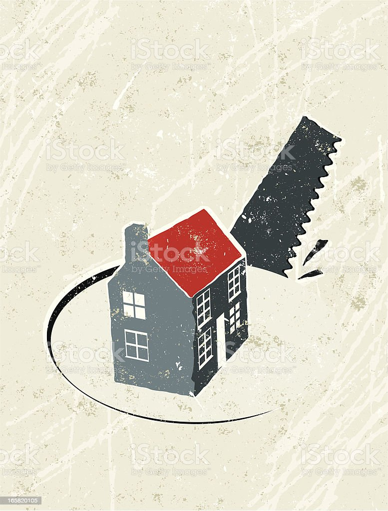House with Saw and Hole vector art illustration