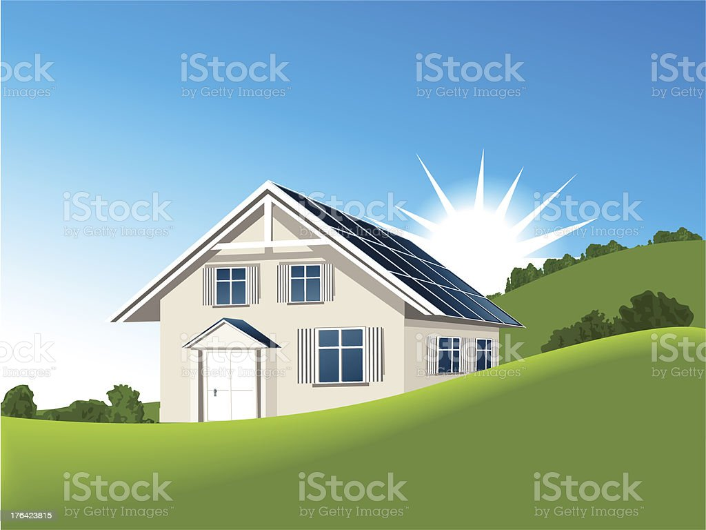 House with solar collectors royalty-free stock vector art