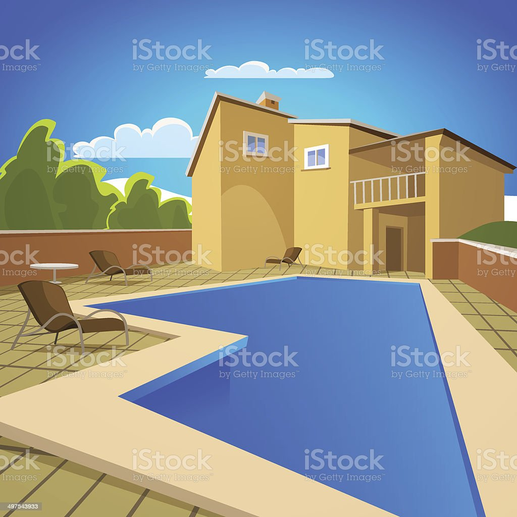 House With Swimming Pool vector art illustration