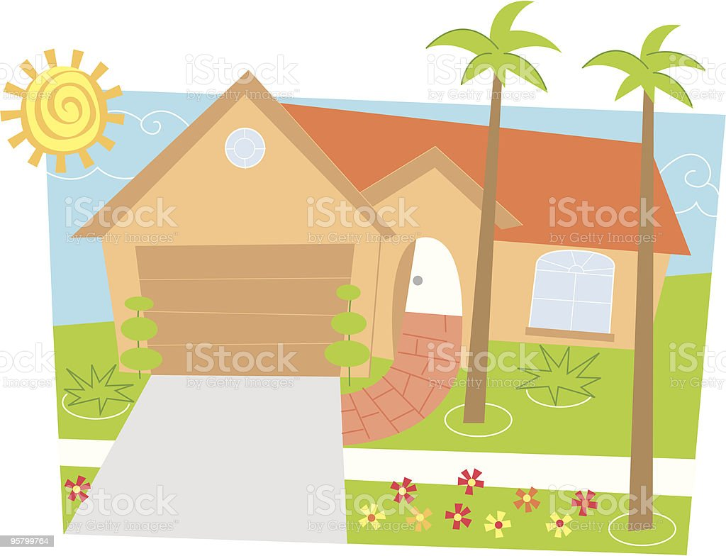 House with two palm trees royalty-free stock vector art
