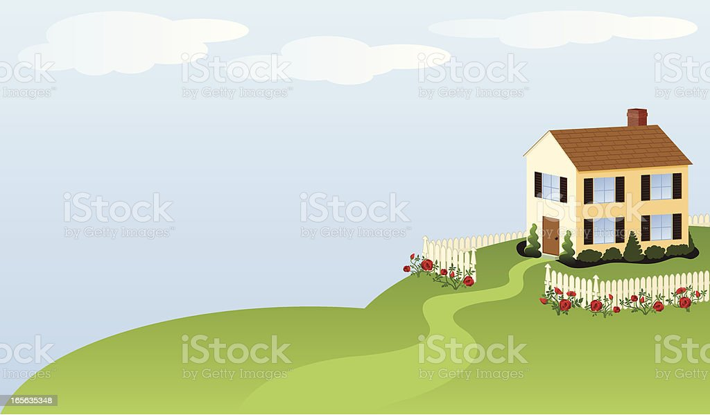 House with white picket fence vector art illustration