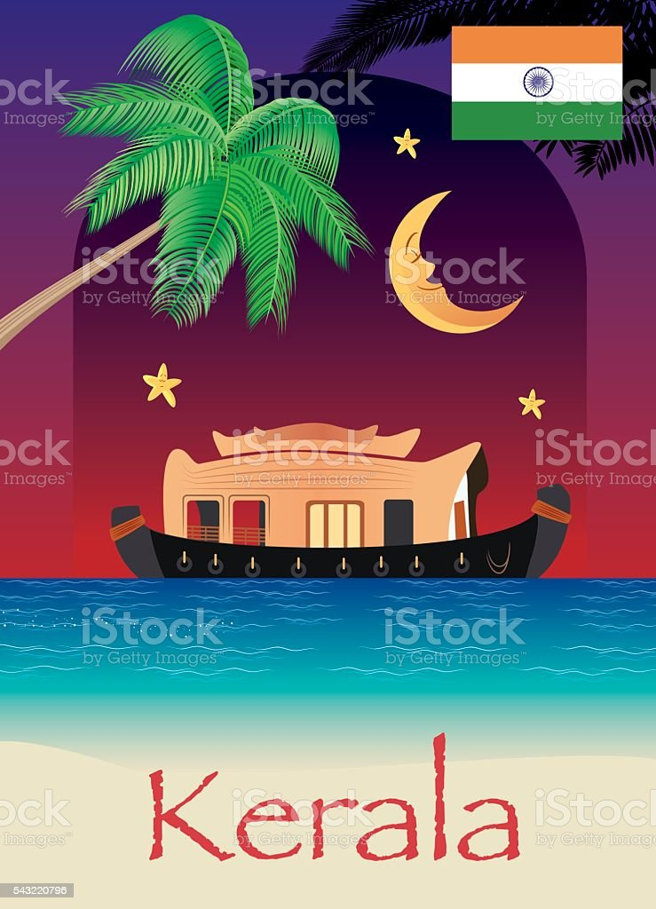 Houseboat Kerala vector art illustration