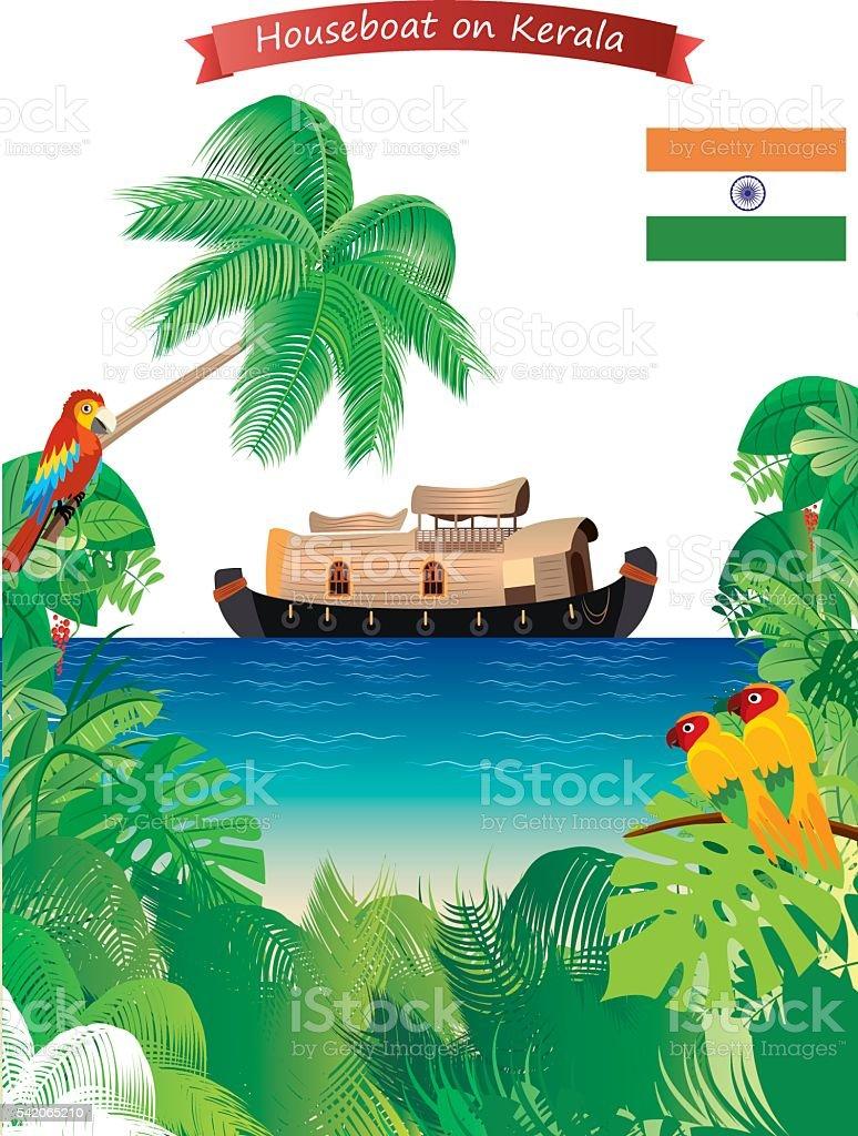 Houseboat On KERALA vector art illustration