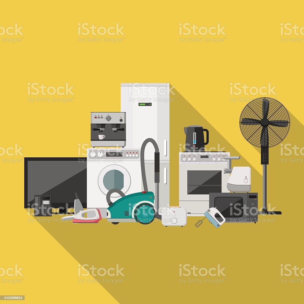 Household appliance flat banner vector art illustration
