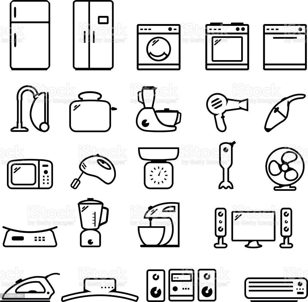 Household appliance icon set vector art illustration