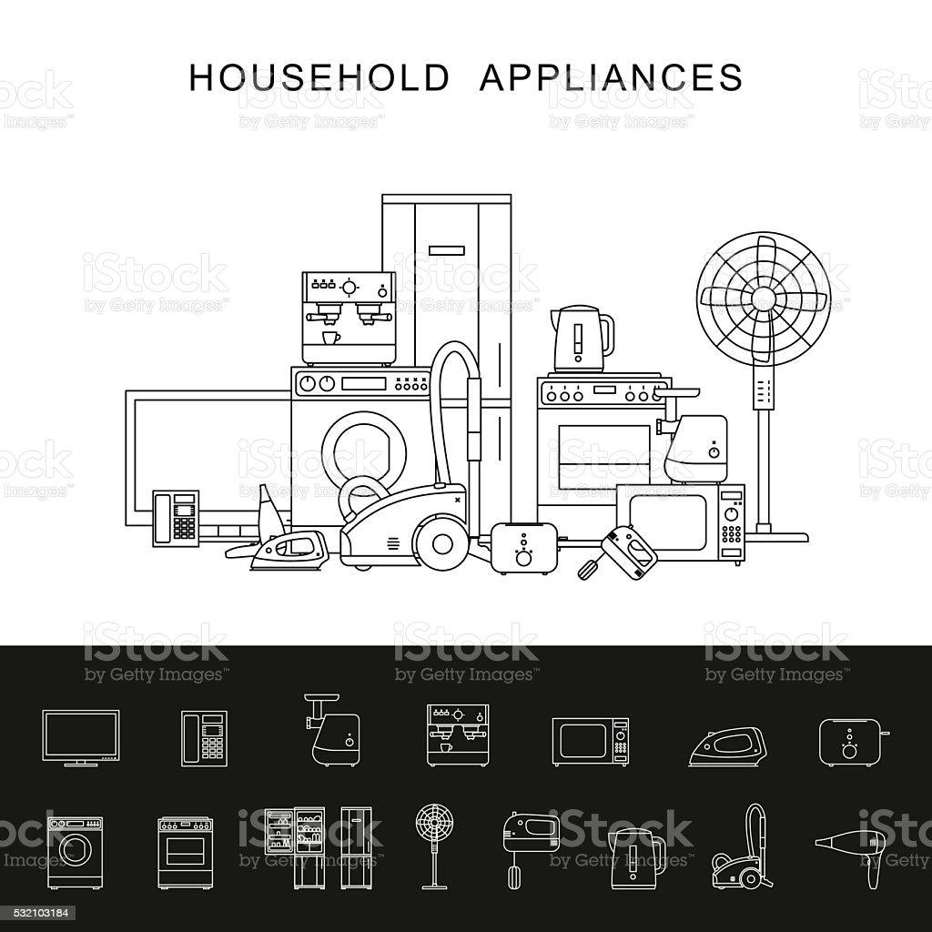 Household appliance line illustration. vector art illustration