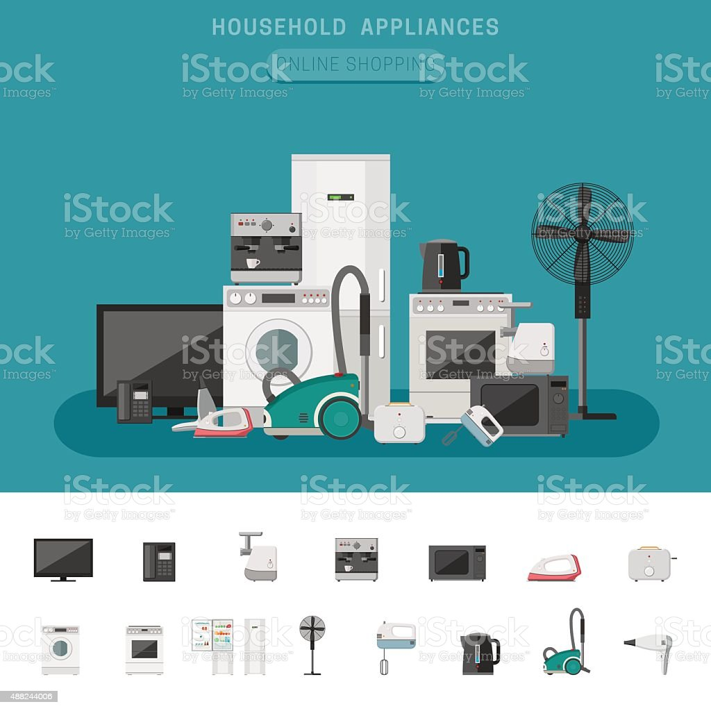 Household appliance vector art illustration