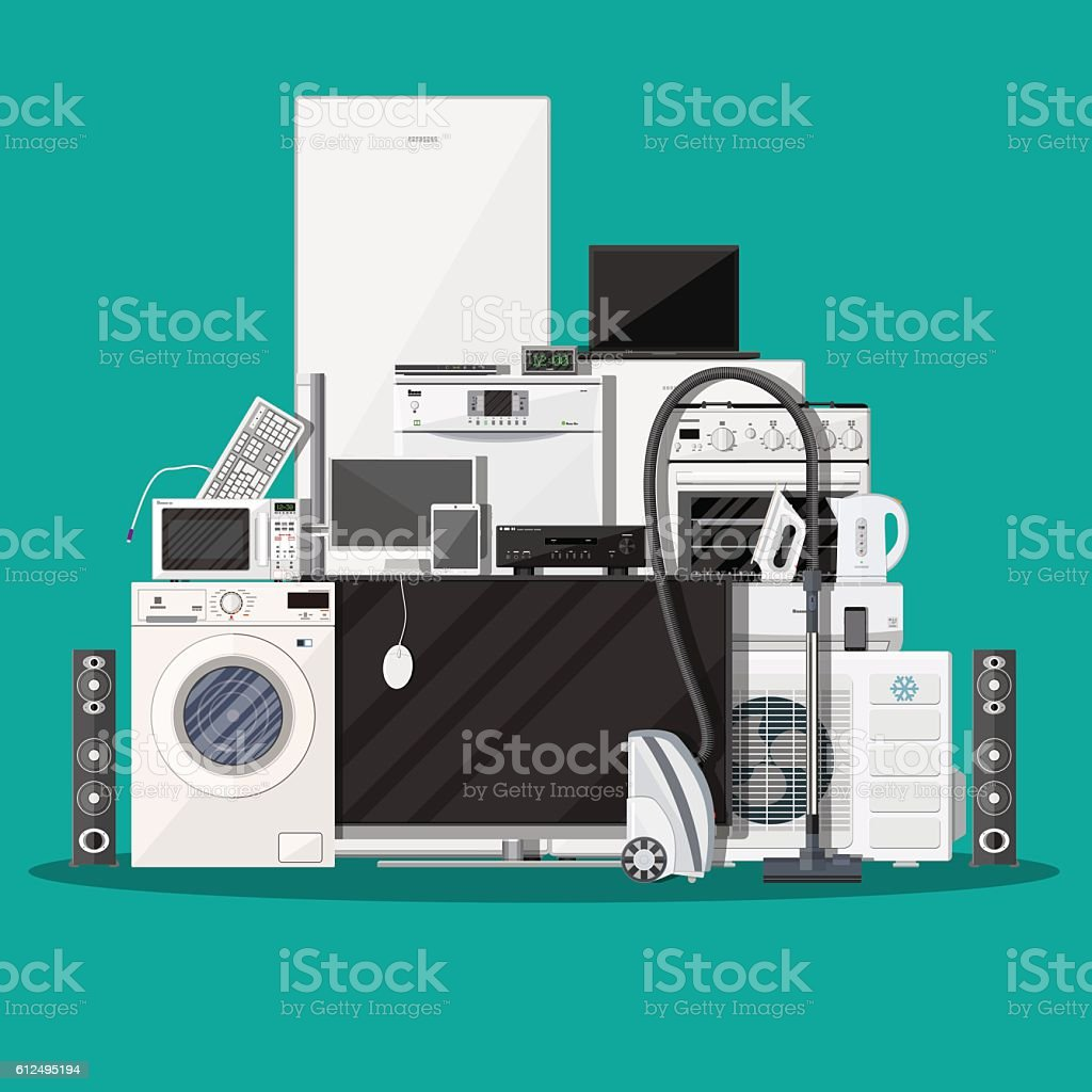Household Appliances and Electronic Devices vector art illustration
