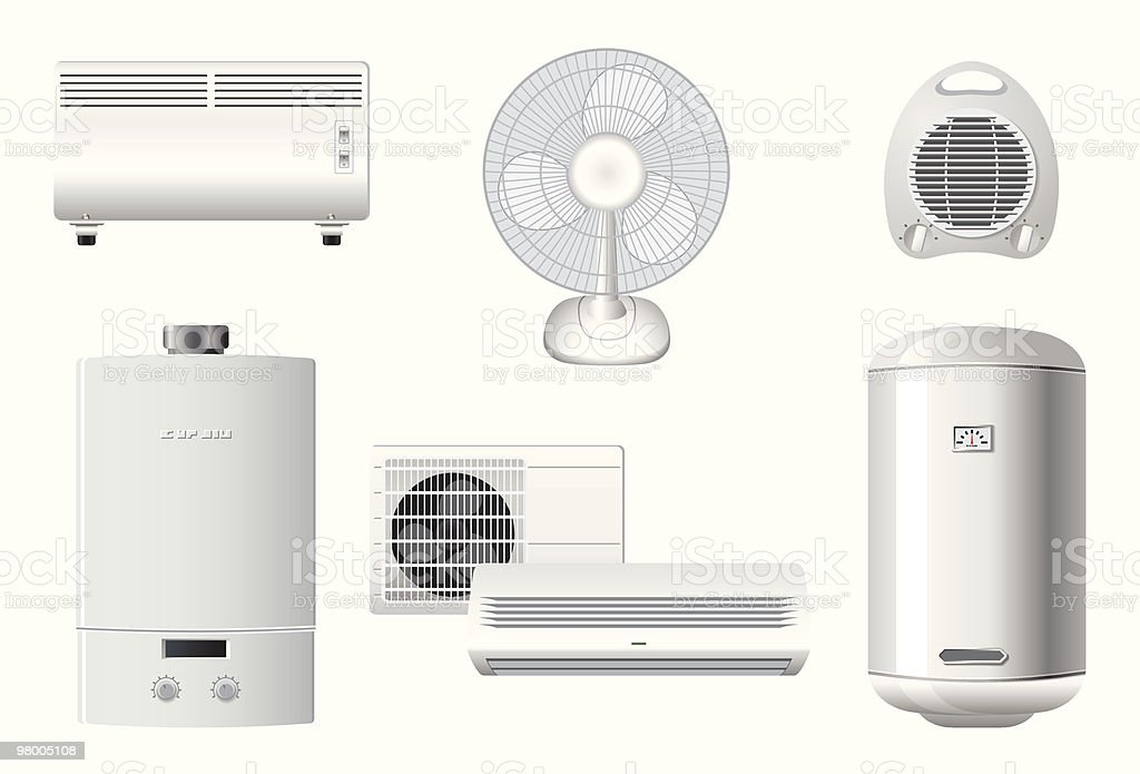 Household appliances | Heating and air conditioning vector art illustration