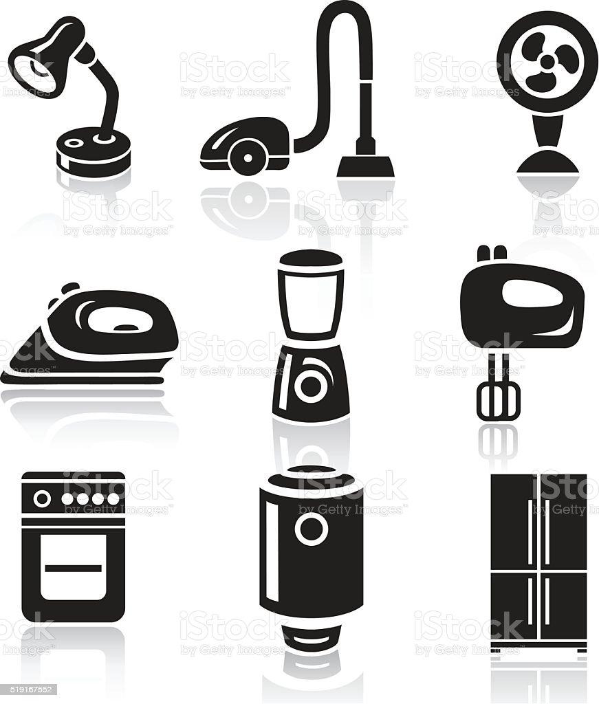 Household appliances icon set. Black sign on white background vector art illustration