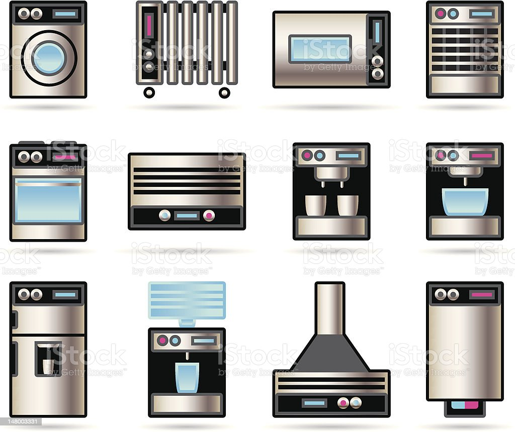 Household Appliances icons set royalty-free stock vector art