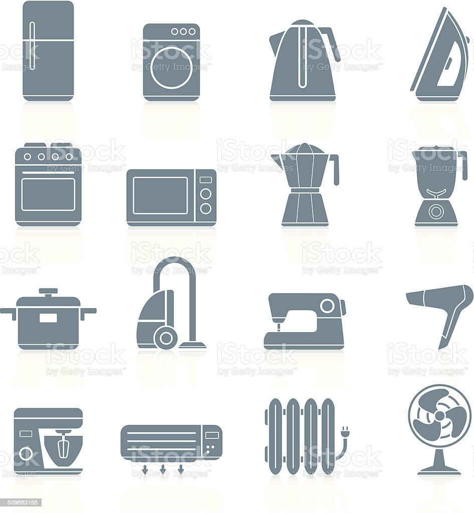 Household appliances - icons vector art illustration
