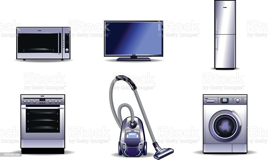 Household appliances set vector art illustration