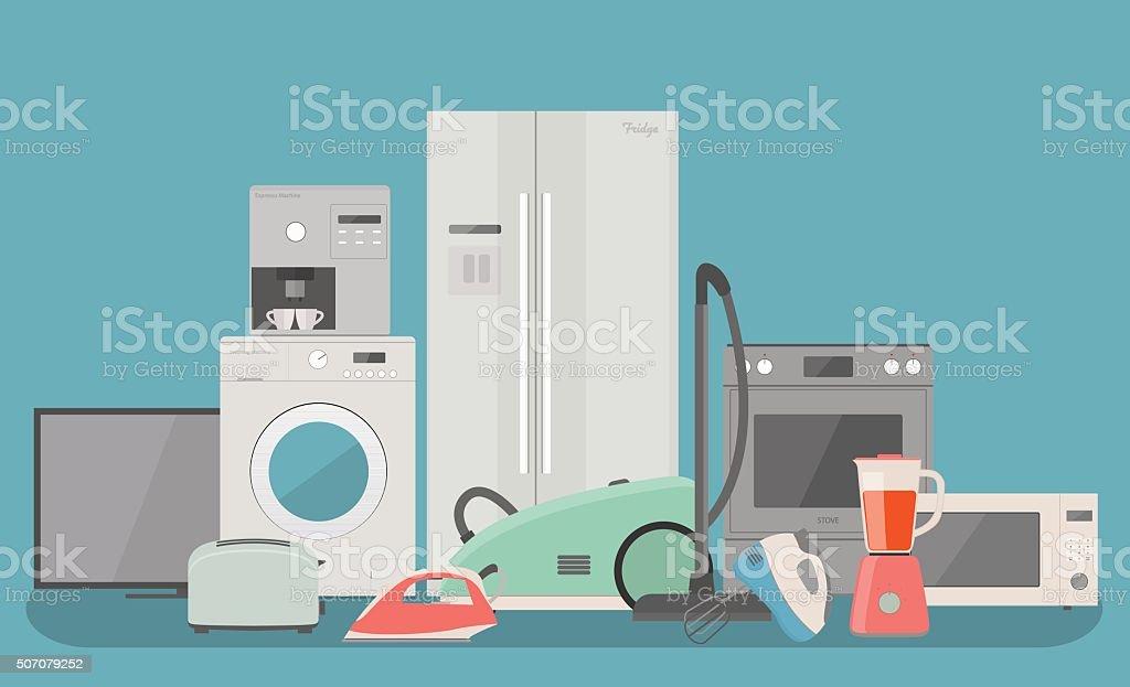 Household appliances vector art illustration