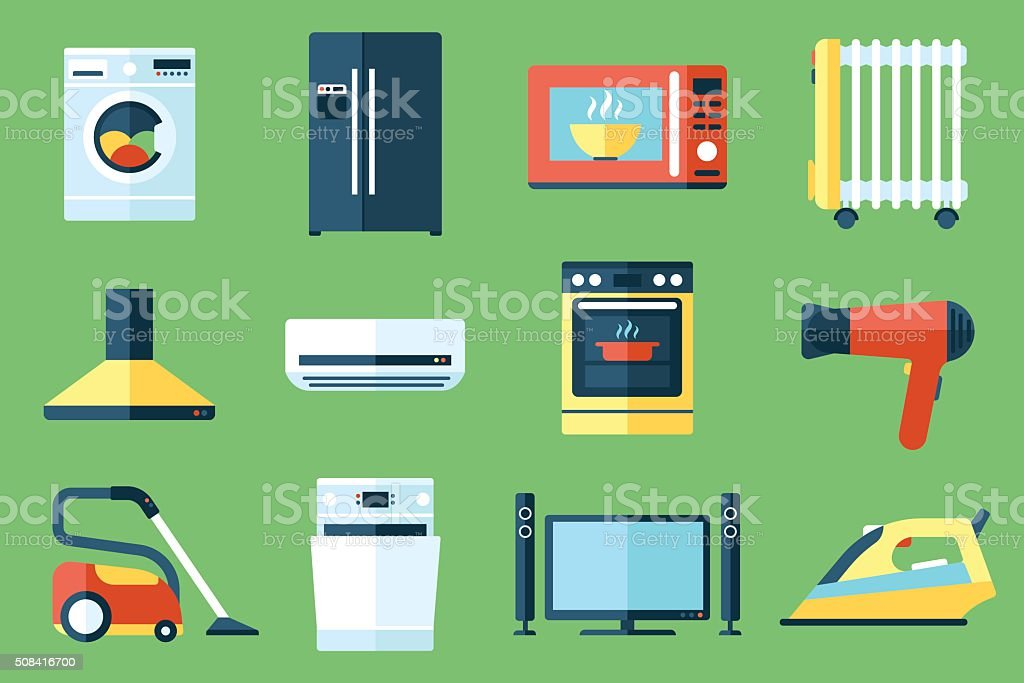 Household appliances vector art illustration