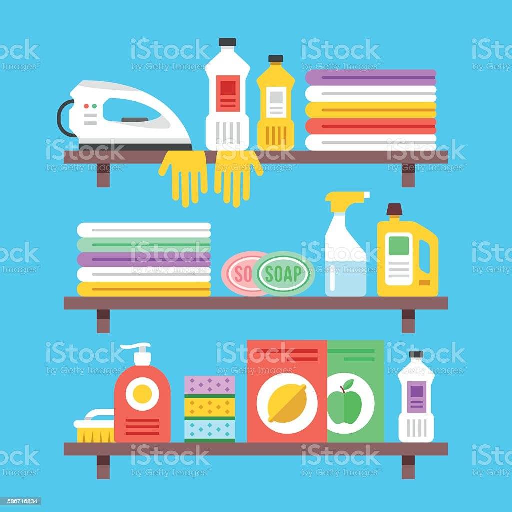 Household cleaning products, chemicals, supplies on shelves. Flat vector illustration vector art illustration